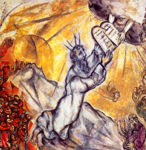 Marc Chagall - Moïse recevant les tables de la Loi, 1966